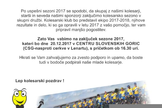 Vabilo na zaključek sezone in predstavitev ekipe KK TBP Lenart 2018